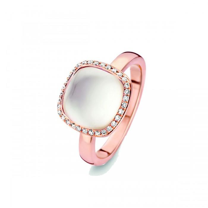 Royaume-Uni disponibilité c1e93 61930 Bague Amiata, Topaze blanche sur nacre et diamant or rose 750/000 Tour de  doigt 54