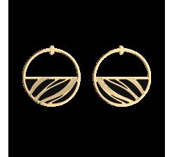 Boucles d'oreilles Les Georgettes Les Essentielles Vibrations, finition dorée, 43mm , cuir : Noir Grainé / Magenta