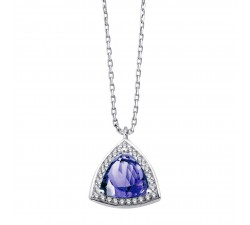 COLLIER BLOOMING STONES OR, TANZANITE & DIAMANTS