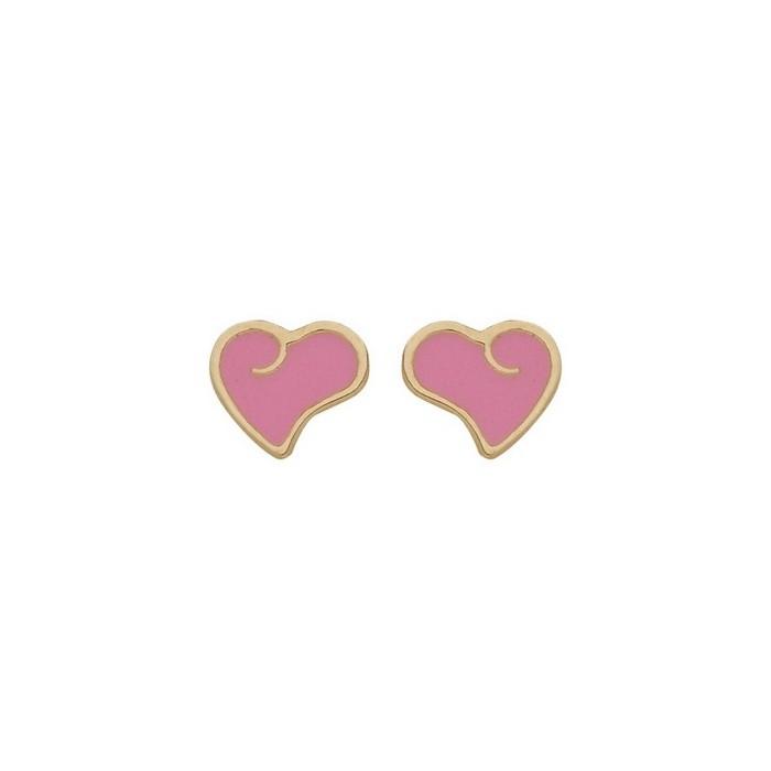 Boucles d'oreilles coeur email rose