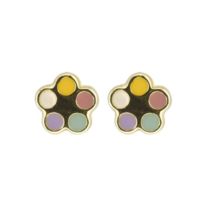 Boucles d'oreilles Fleur émail multicolore