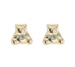 Boucles d'oreilles OURS OXYDE système vis or jaune 750/1000