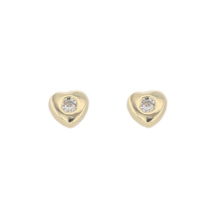Boucles d'oreilles COEUR OXYDE système vis or jaune 750/1000