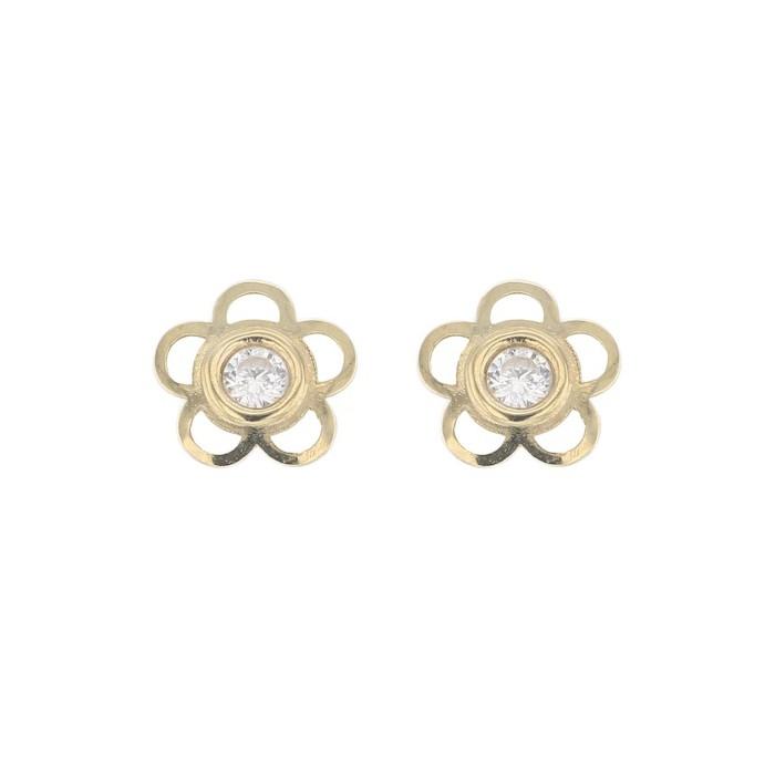 Boucles d'oreilles FLEURS OXYDE SYSTEME VIS or jaune 750/1000