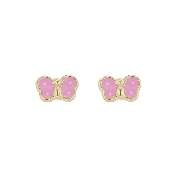 Boucles d'oreilles PAPILLON EMAIL ROSE SYSTEME VIS or jaune 750/1000