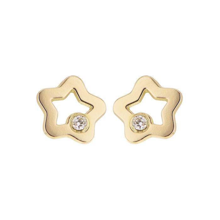 Boucles d'oreilles BOUTONS ETOILE  or jaune 750/1000