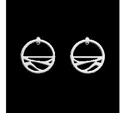 Boucles d'oreilles créoles Les Georgettes Les Essentielles Ecorces, finition argentée, 30mm,  cuir Bleu Minéral / Argile Rose