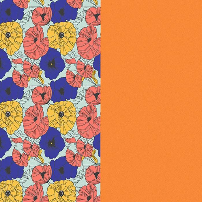 Cuir pour manchette Les Georgettes  8mm Fleurs Multicouleurs / Abricot