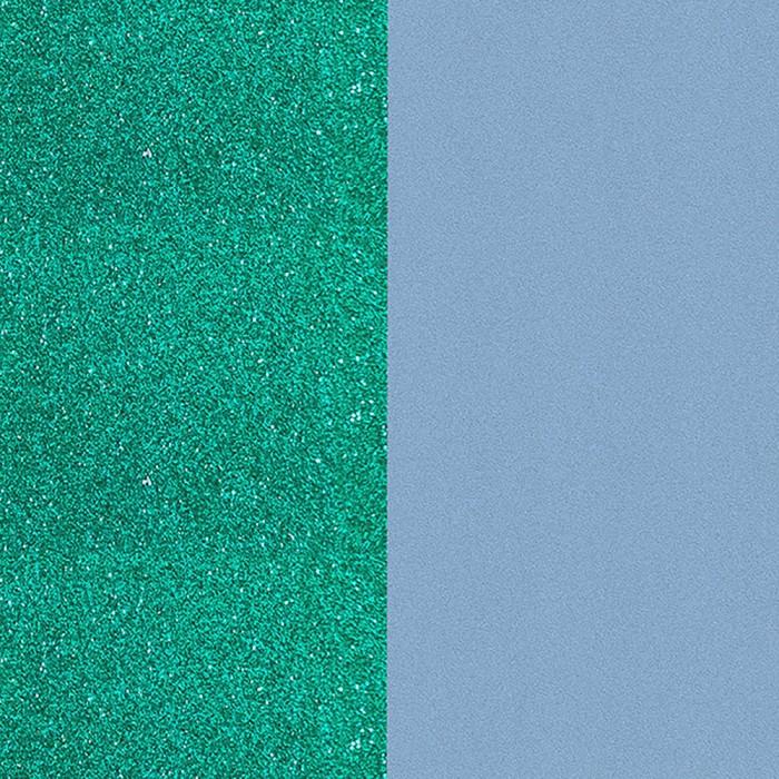 Cuir pour manchette Les Georgettes  25mm Paillettes Turquoise / Bleu Ciel